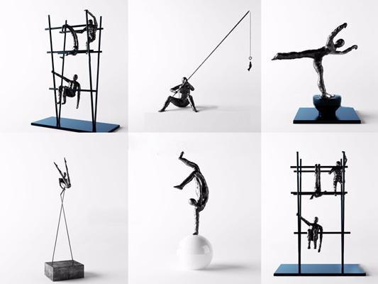 现代钓鱼运动人物雕塑组合3D模型