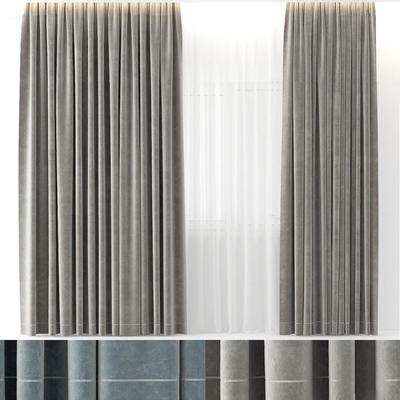 現代布藝窗簾3D模型