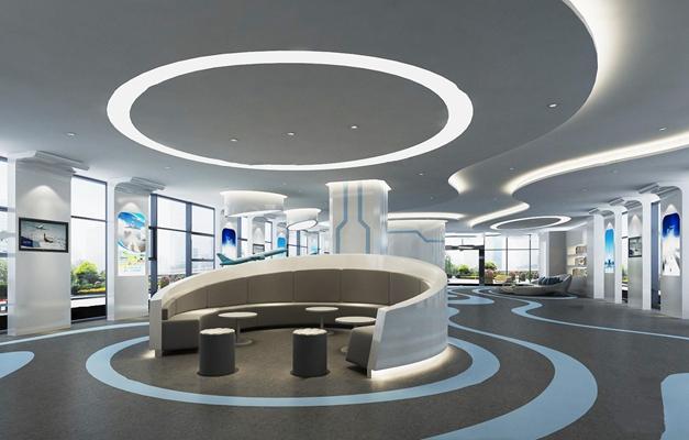 现代航空公司展厅3d模型