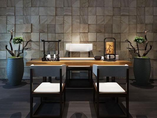 新中式书台桌椅笔架盆栽组合3D模型