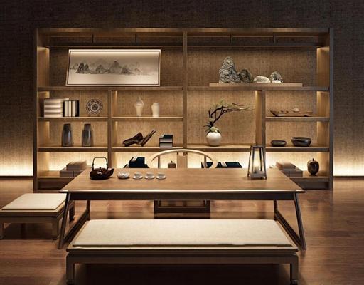 新中式泡茶桌装饰柜组合3D模型