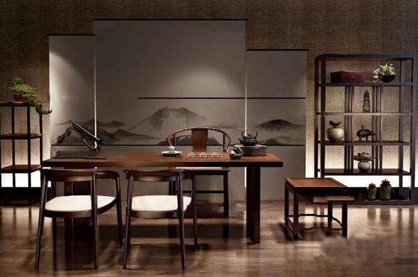 新中式茶桌单椅装饰架组合3D模型