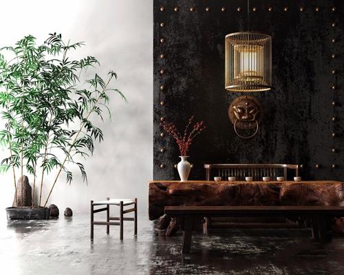 新中式根雕茶室