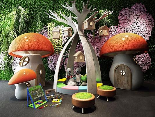 卡通游乐场蘑菇房
