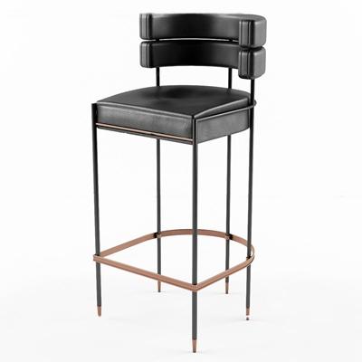 现代皮革吧台椅3D模型