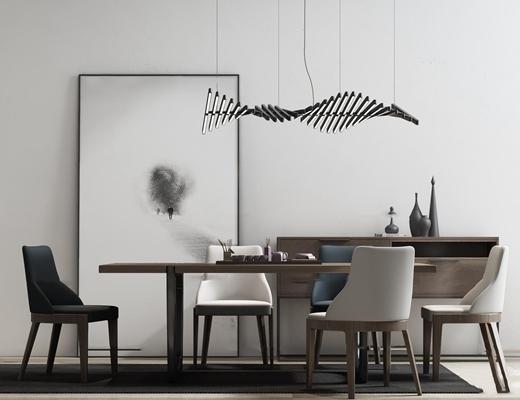 新中式餐桌椅吊灯组合3d模型【ID:37174941】