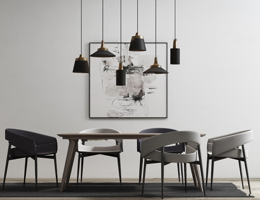现代桌椅吊灯组合3d模型
