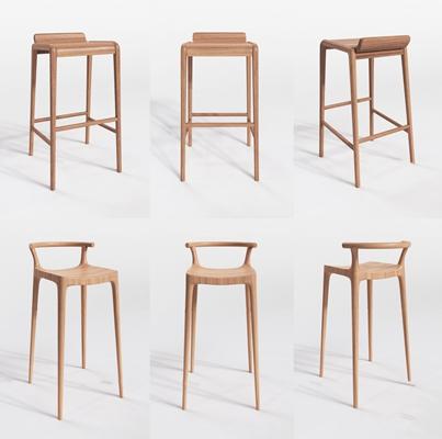 現代實木吧椅組合3d模型