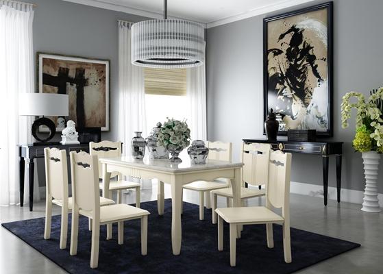 欧式餐桌椅边柜吊灯组合3D模型