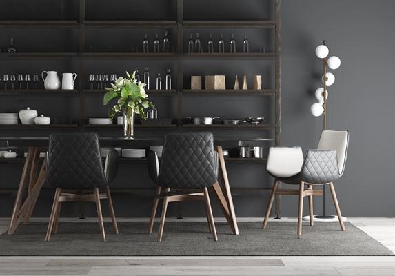 现代桌椅餐具摆件组合3d模型