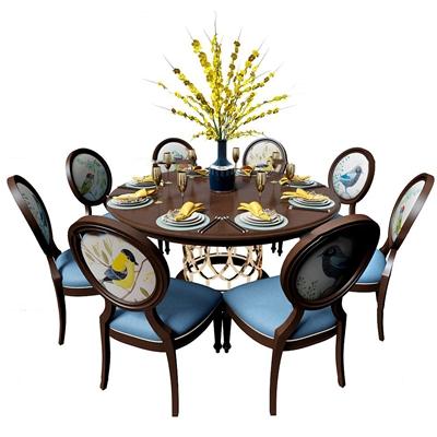 美式圆形餐桌椅餐具组合3D模型