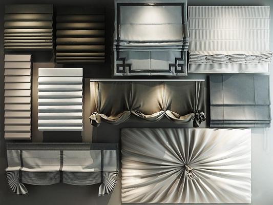 现代布艺窗帘布帘卷帘组合3D模型