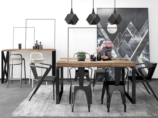 工业风餐桌椅吊灯组合3D模型