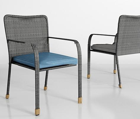 现代户外藤椅组合3D模型