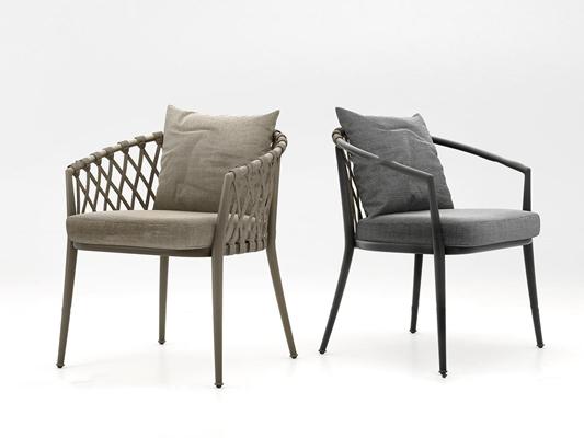 现代户外编织椅组合3D模型