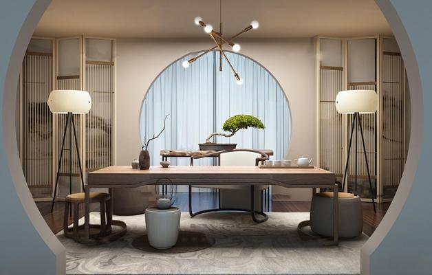 新中式茶桌椅屏风组合3D模型