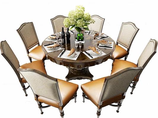 美式餐桌椅摆件组合3d模型