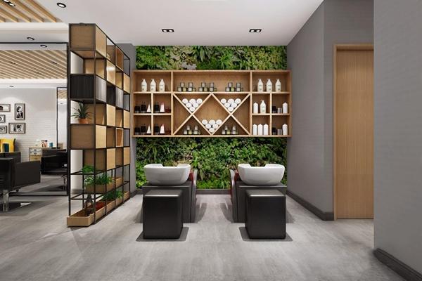 工业理发店 工业风spa 理发店 前台 铁艺隔断 植物墙 休闲椅 照片墙