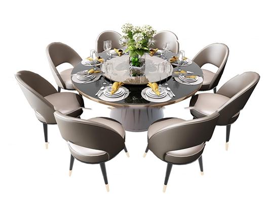 现代圆形餐桌椅餐具组合3D模型