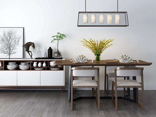 现代餐桌椅餐边柜组合3D模型【ID:37209948】