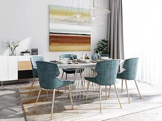 北欧餐桌椅边柜挂画组合3d模型
