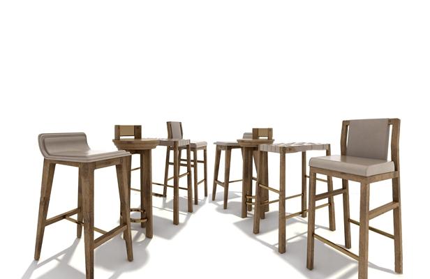 北欧实木吧椅吧凳组合3D模型