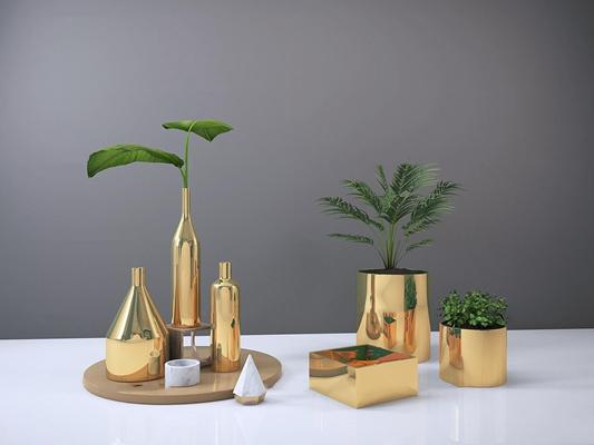 北欧科诺索金色系陶瓷花瓶3D模型