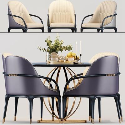 后现代餐桌椅摆件组合3D模型
