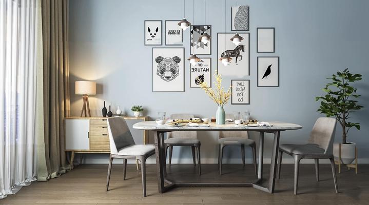 北欧餐桌椅边柜吊灯组合3D模型