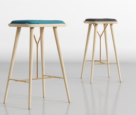 现代实木高脚吧椅组合3D模型