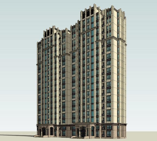 新古典高层住宅Sketchup模型