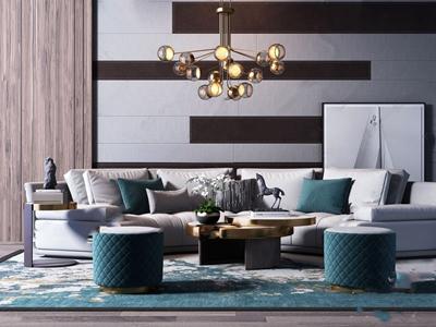 现代轻奢弧形沙发凳子茶几组合 现代沙发茶几组合 休闲椅 茶几 吊灯 凳子 饰品摆件