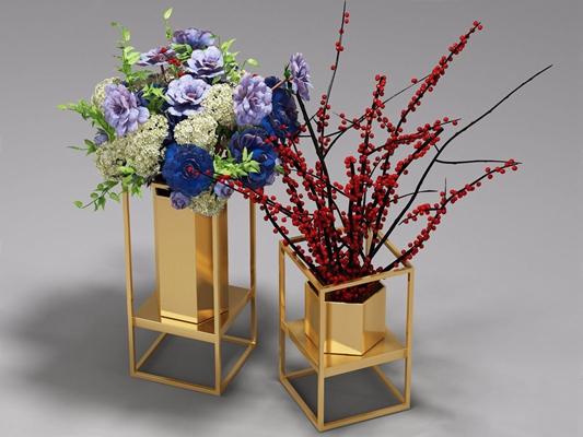 艺术插花 花艺 花瓶 金属花瓶 艺术插花