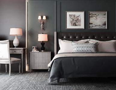 美式双人床 美式双人床 床头柜 台灯 书桌 书椅 壁灯 挂画