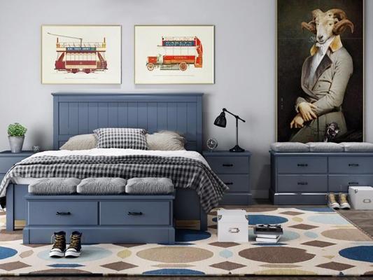 美式儿童房组合 美式床具 床头柜 装饰画 摆件 地毯