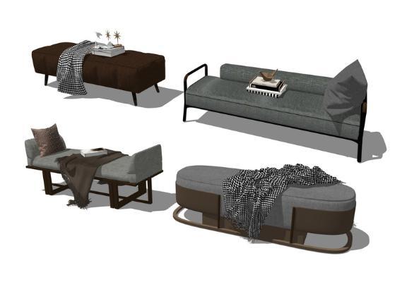 现代床尾凳组合SU模型