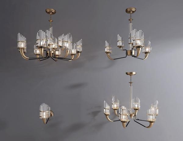 现代金属吊灯3d模型