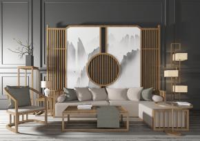 新中式沙发茶几屏风灯具组合3D模型