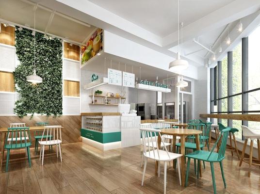 北欧酸奶店 北欧商业零售 收银台 餐桌椅 吧台 吧椅 植物墙 单头吊灯