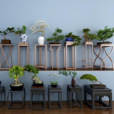 中式实木花架边几盆栽组合3D模型
