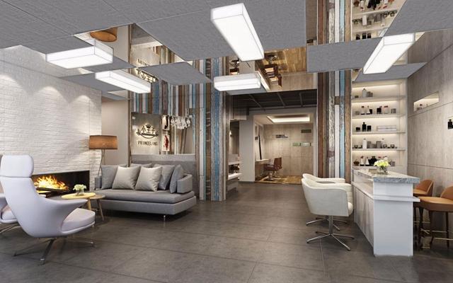 北欧理发店 理发店 收银台 接待台 等候区 多人沙发 单人沙发 茶几 落地灯 吊灯 转椅
