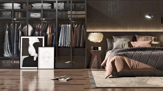现代风格双人床衣柜组合 现代双人床 衣柜 抱枕 衣服 服饰 装饰画 台灯 地毯