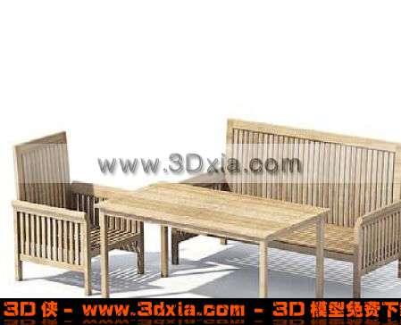 一组漂亮的户外桌椅组合3D模型