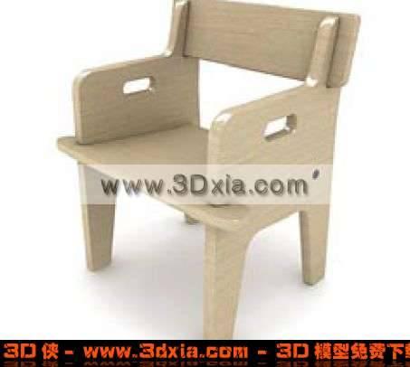 可爱迷人的木质儿童椅3D模型下载