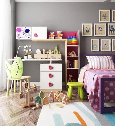现代儿童床具 现代儿童床具 书桌 椅子 凳子 照片墙 地毯
