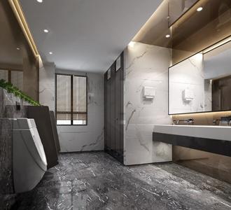 现代风格公共卫生间 现代其他 男卫生间 镜子 洗手台 绿植 烘干器