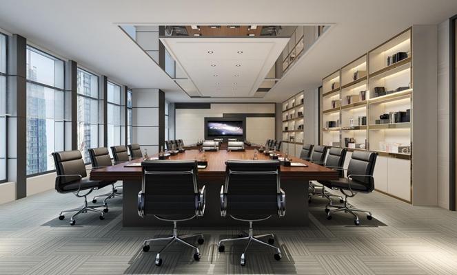会议室 现代会议室 会议桌 书柜 转椅