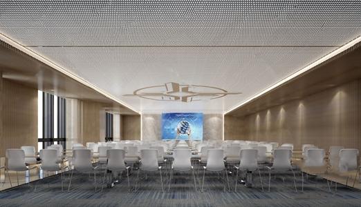 现代会议室 现代会议室 会议桌 单人椅 地毯 投影仪