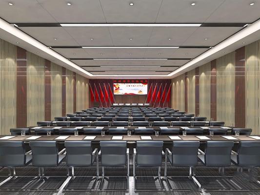 现代会议室 现代办公室 会议桌 联排会议桌 椅子 讲台 红旗