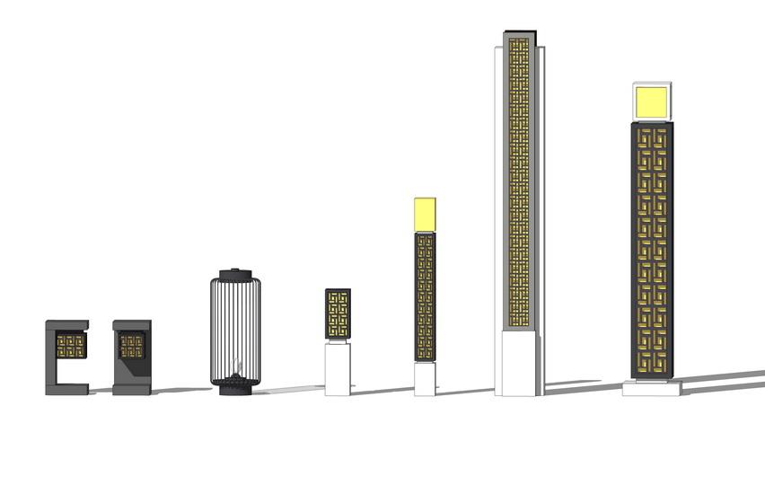 新中式景观灯组合SU模型